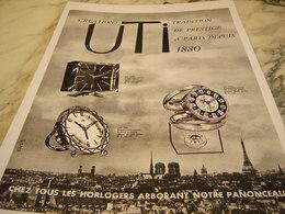 ANCIENNE PUBLICITE  HORLOGERIE DE LUXE CREATION UTI 1961 - Bijoux & Horlogerie
