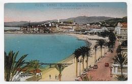 (RECTO / VERSO) CANNES EN 1937 - N° 412 Bis - BOULEVARD ET BAINS DE LA CROISETTE - BEAU TIMBRE ET CACHET - CPA VOYAGEE - Cannes