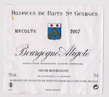 """Etiquette HOSPICES DE NUITS SAINT GEORGES """" Bourgogne Aligoté 2017 """" (2891)_ev439 - Bourgogne"""
