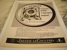 ANCIENNE PUBLICITE PENDULE ATMOS JAEGER-LECOULTRE 1961 - Bijoux & Horlogerie