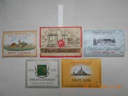 """Lot De 5 étiquettes De Vin  """" VIN D'ALSACE   PINOT   """"  ( Voir Descriptif) - Colecciones & Series"""