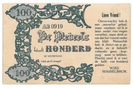 NED 1 - 12223 HOLLAND, Banknote 100 Gulden - Old Postcard - Used - 1916 - Munten (afbeeldingen)