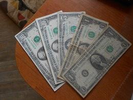 USA  1969  1985   1988   1990  -    27    DOLLARS   -     5   BILLETS  LOT  -  A UNC  /  UNC - Federal Reserve (1928-...)