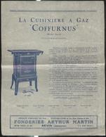 Publicité Fonderies Arthur Martin à Revin - La Cuisinière à Gaz Coffurnus - 21 X 27 Cm - Publicités