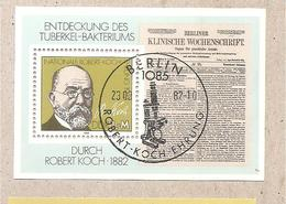 DDR - Foglietto FDC Con Annullo Speciale Michel Block 67: The 100th Anniversary Of The Discovery Of Tuberculos - 1982 *G - Medicina