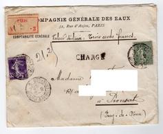 Valeur Déclarée Chargé 5 Cachets Cire Départ Paris 3 Malesherbe 1910 Pour Pionsat Puy De Dome 35 Cts + 15 Cts - Marcofilie (Brieven)