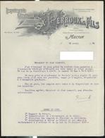 Courrier Imprimerie Perroux à Macon - Avril 1928 - 21 X 27 Cm - France