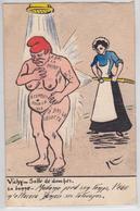 Vichy Salle De Douches Combes Franc-Maçonnerie Cpa Satirique Politique Patriotique Tatouage Envoi Pour Lotteau Bohain - Satirische