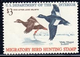 USA, Scott 2019 No RW36, Issued 1969, Single, MNH, $65.00, Ducks - Duck Stamps