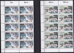BRD, 1990 Nr. 1449-1450 ** Zwei Ungefaltete Bogenteile, Je 10 Marken, Sporthilfe-beliebte Sportarten, Komplette Ausgabe - [7] République Fédérale