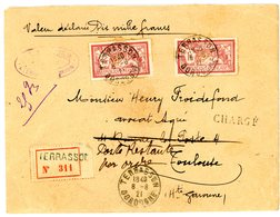 "DORDOGNE ENV 1921 TERASSON MERSON 1F X 2 CHARGEE ""Poste Restante Par Ordre"" NON TAXEE MISE D'OFFICE EN POSTE RESTANTE VO - Postmark Collection (Covers)"