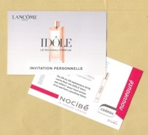 Carte Promo Invitation Perfume Card IDOLE * LANCOME * NOCIBE * R/V - Modernes (à Partir De 1961)
