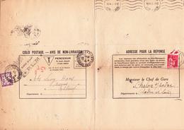 Taxe 37,Paix 283 Sur Avis De Colis De Chalon-sur-Saône Aux Ets Lévy-Haas à Elbeuf (1937) - Postage Due