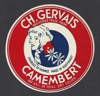 Etiquette  Fromage Camembert  -  Ch. Gervais  -  Fabriqué En Normandie - Cheese