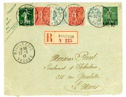 VENDEE ENV 1913 MAILLEZAIS RECOMMANDEE 15C LIGNE TAXE REDUITE 0F10 + COMPO SEMEUSE BLANC - Postmark Collection (Covers)
