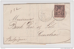LETTRE BANQUIERS LEHIDEUX PARIS 15 FÉVRIER 1896 POUR COURTRAI BELGIQUE - SAGE N° 97 - - Postmark Collection (Covers)