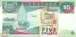 SINGAPORE 5 DOLLARS 1989 PICK 19 UNC - Singapur
