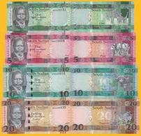 South Sudan Set 1, 5, 10, 20 Pounds 2011-2017 UNC Banknotes - Sudán Del Sur