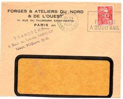 PARIS GARE De L' EST 1951 =  FLAMME SECAP ' A 2000 ANS ' - Marcofilia (sobres)