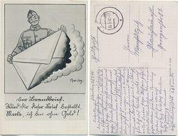 AK Soldaten Humor, Künstler AK Barlog, Feldpost Wandern Sulecin Neumark, 2. WK, - War 1939-45