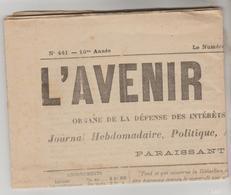 "JOURNAL HEBDOMADAIRE ""L'AVENIR VAUREEN"" N°441 DU 19/01/1907 4 PAGES - Giornali"
