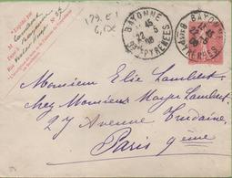 Entier Semeuse Lignée 10c Rose Sur Enveloppe (123*96) 129-E1  Sans Date  Bayonne à Paris 22/05/08 - Ganzsachen