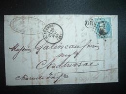 LETTRE (PLI) TP EMPIRE LAURE 20c OBL. GC + 29 MAI 69 GUERANDE (42) (44 LOIRE ATLANTIQUE) OR ORIGINE RURALE - 1849-1876: Classic Period