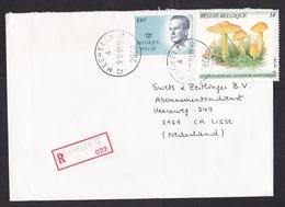 Belgium: Registered Cover To Netherlands, 1991, 2 Stamps, Mushroom, Fungus, King, Improvised R-label (damaged) - Storia Postale