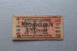 Ticket Du Métropolitain : N T 2ème Classe - Tickets D'entrée