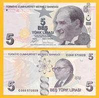 Turkey 5 Lira P-222c 2009 (2017) UNC Banknote - Turquie
