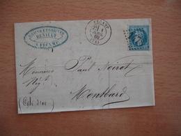 Fecamp Gros Chiffre 1478 Cachet Type 18 Lettre Pour Montbard 1869 Ambulant De Jour Paris Auxerre Poste Ferroviaire - 1849-1876: Klassieke Periode