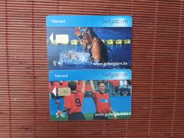 2 Phonecards Sport Belgium Used - Belgique