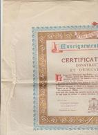 CERTIFICAT ELEMENTAIRE D'INSTRUCTION PRIMAIRE ET D'EDUCATION CHRETIENNE ENSEIGNEMENT CATHOLIQUE - Diplomas Y Calificaciones Escolares