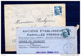Ar3009 Lettre  2 Ex   1945 Marianne Gandon 2f YvT 713 Seul Sur Lettre  LA Baule, Cramoisy - Marcophilie (Lettres)