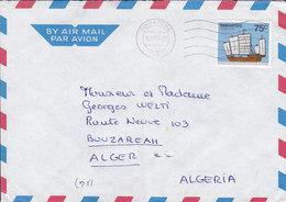 Singapore Air Mail SINGAPORE 1984 Cover Brief BOUZAREAH Alger Algeria 75c. Jiangsu Trader Sailingship Segelschiff - Singapur (1959-...)