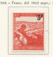 PIA - FRA - 1946 : Pro Tubercolotici - Francobollo Precedente Con Nuovo Valore Sovrastampato - (Yv  750) - Malattie