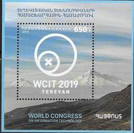 ARMENIA, 2019, MNH, WORLD CONGRESS ON INFORMATION TECHNOLOGY. MOUNTAINS, S/SHEET - Informatique