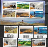 NEW ZEALAND , 2019, MNH, TE ARAROA TRAIL, MOUNTAINS, HIKING, LANDSCAPES, COASTLINES, 6v+SHEETLET , HIGH FV - Géologie