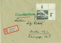DRMi-Nr 842 /Wehrmacht1943, echt Gelaufener R-Brief,  OberrandStück,  EF - Germania