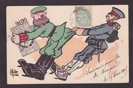 CPA Muller Satirique Caricature Guerre Russo Japonaise Timbres Poste Russie Japon Circulé - Rusia
