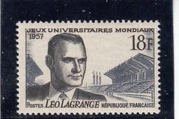 France - 1957 - N° YT 1120** - Léo Lagrange - Unused Stamps