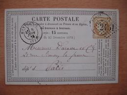 Carte Precurseur Privee Montereau  Cachet Type 17   Gros Chiffre 2451  Yt Yvert 59 Ceres - Marcofilie (Brieven)
