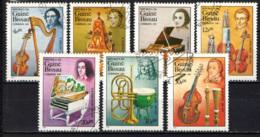 GUINEA BISSAU - 1985 - SERIE MUSICISTI: V. BELLINI, R. SCHUMANN, F. CHOPIN, L. CHERUBINI, G.B. PERGOLESI, HANDEL - USATI - Guinea-Bissau