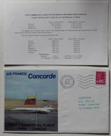 Avion Concorde Premier Vol 12 Février 1976 Paris Caracas Enveloppe Premier Jour First Commercial Flight + Carte - Concorde