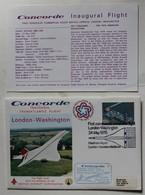 Avion Concorde Premier Vol 24 Mai 1976 London Washington Enveloppe Premier Jour First Flight + Carte - Concorde