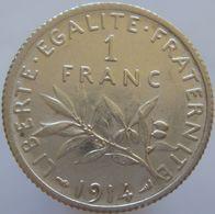 France 1 Franc 1914 XF - Silver - France