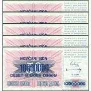 TWN - BOSNIA-HERZEGOVINA 36 - 10000000 10.000.000 Dinara 10.11.1993 DEALERS LOT X 5 - Various Prefixes UNC - Bosnia Y Herzegovina