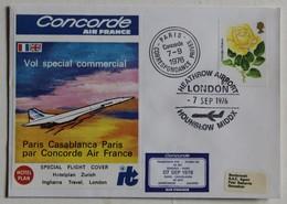 Avion Concorde Premier Vol 7 Septembre 1976 Paris Casablanca Enveloppe Premier Jour First Flight 2000 Exemplaires - Concorde