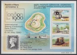 Nauru 1980 - The 10th Anniversary Of Nauru Phosphate Corporation - Miniature Sheet Mi Block 3 (211-213) ** MNH - Nauru