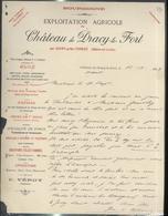 """Courrier """" Chateau De Dracy Le Fort """" 10/10/1889 - France"""